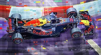 Digital Art - 2017 Singapore Gp Red Bull Racing Ricciardo by Yuriy Shevchuk