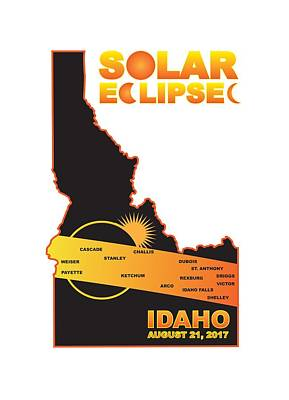 Photograph - 2017 Solar Eclipse Across Idaho Cities Map Illustration by Jit Lim