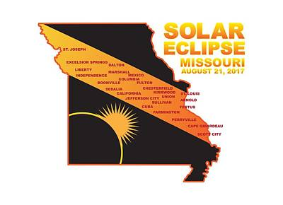 Photograph - 2017 Solar Eclipse Across Missouri Cities Map Illustration by Jit Lim