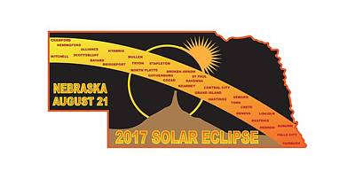 Digital Art - 2017 Solar Eclipse Across Nebraska Cities Map Illustration by Jit Lim