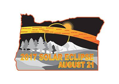Digital Art - 2017 Solar Eclipse Across Oregon Cities Map Illustration by Jit Lim