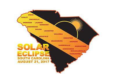 Digital Art - 2017 Solar Eclipse Across South Carolina Cities Map Illustration by Jit Lim