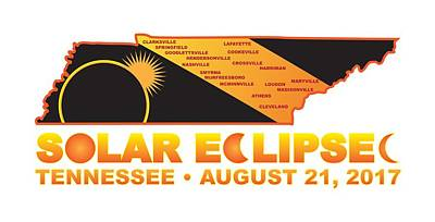 Photograph - 2017 Solar Eclipse Across Tennessee Cities Map Illustration by Jit Lim