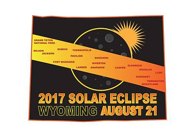 Solar Eclipse Digital Art - 2017 Solar Eclipse Across Wyoming Cities Map Illustration by Jit Lim