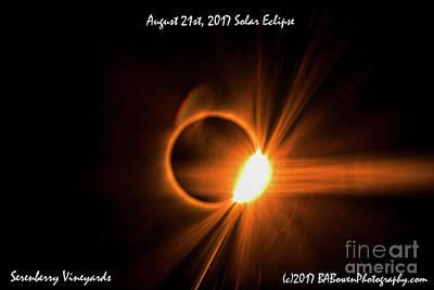 Photograph - 2017 Solar Eclipse - Diamond Ring by Barbara Bowen