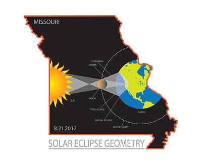 Solar Eclipse Digital Art - 2017 Solar Eclipse Geometry Across Missouri State Map Illustration by Jit Lim