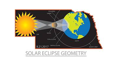 Photograph - 2017 Solar Eclipse Geometry Across Nebraska Cities Map Illustration by Jit Lim