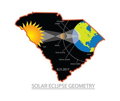 Photograph - 2017 Solar Eclipse Geometry Across South Carolina Cities Map Illustration by Jit Lim