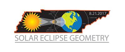 Photograph - 2017 Solar Eclipse Geometry Across Tennessee Cities Map Illustration by Jit Lim