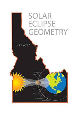 Photograph - 2017 Solar Eclipse Geometry Idaho State Map Illustration by Jit Lim