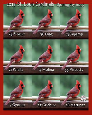 Photograph - 2017 St. Louis Cardinals Opening Day Lineup by John Freidenberg