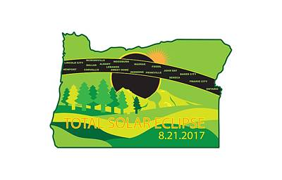 Photograph - 2017 Total Solar Eclipse Across Oregon Cities Map Illustration by Jit Lim