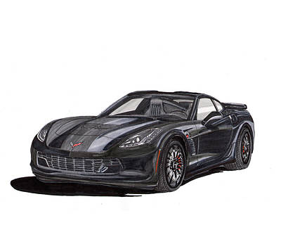 Iconic Painting - 2017 Triple Black Corvette by Jack Pumphrey