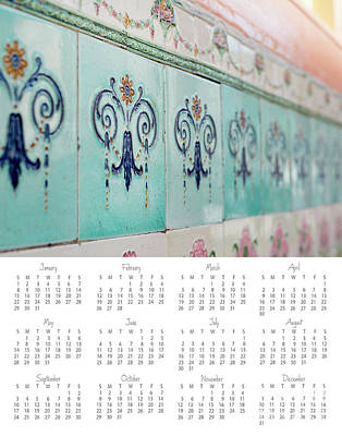 Photograph - 2017 Wall Calendar Blue Ceramic Tiles by Ivy Ho
