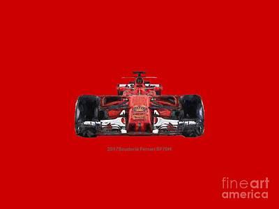 Digital Art - 2017scuderia Ferrari Sf70h by Roger Lighterness