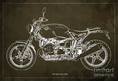 Recently Sold - Transportation Royalty-Free and Rights-Managed Images - 2018  Bmw R Nine T Pure Brown Background by Drawspots Illustrations