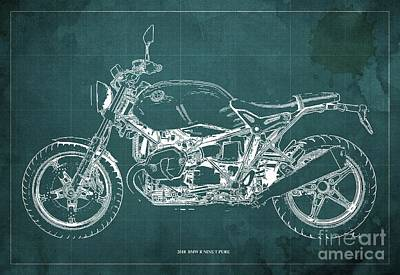 Queen - 2018 Bmw R Nine T Pure Green Background by Drawspots Illustrations