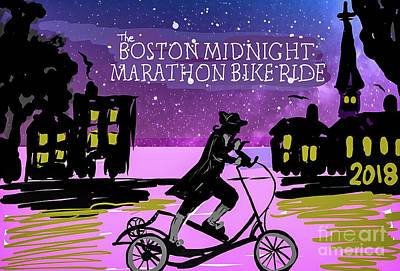 Painting - 2018 Boston Marathon Midnight Ride by Francois Lamothe