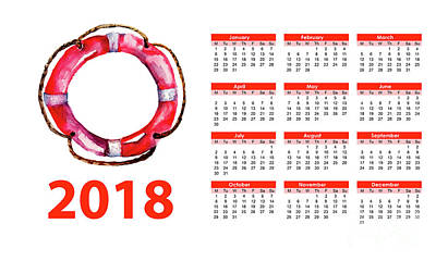 Painting - 2018 Calendar With Life Buoy by Regina Jershova