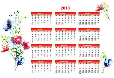 Mixed Media - 2018 Calendar With Stylized Flowers by Regina Jershova