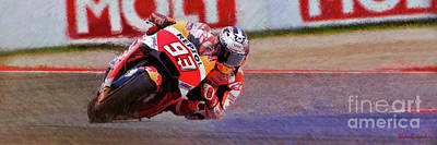 Photograph - 2018 Marc Marquez Leans It Over by Blake Richards