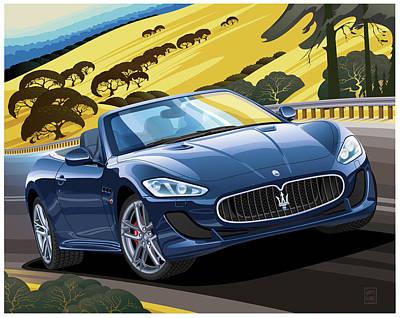 Transportation Digital Art - 2018 Maserati GranTurismo Convertible by Garth Glazier