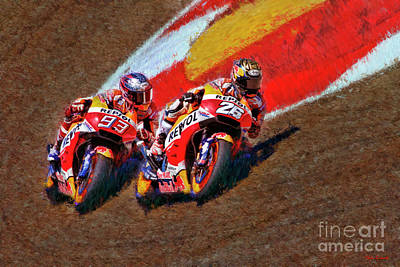 Photograph - 2018 Motogp Honda Team Marc Marquez Dani Pedrosa by Blake Richards