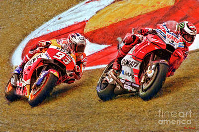 Photograph - 2018 Motogp Jorge Lorenzo Leads Marc Marquez  by Blake Richards