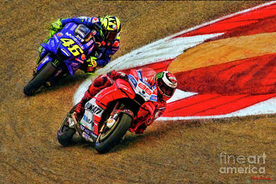 Photograph - 2018 Motogp Jorge Lorenzo Leads Valentino Rossi  by Blake Richards