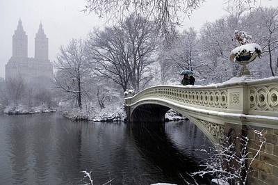 Photograph - 2018 Nor'easter On The Bow Bridge In Central Park by Cameron Dixon