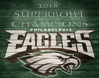 Birds Mixed Media Rights Managed Images - 2018 Superbowl Eagles Barn Wall Royalty-Free Image by Dan Sproul