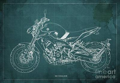 Watercolor Typographic Countries - 2018 Yamaha MT-09 Blueprint Green Background by Drawspots Illustrations