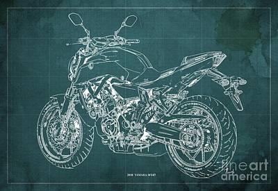 Sugar Skulls - 2018 Yamaha MT07 Blueprint Green Background Fathers day gift by Drawspots Illustrations