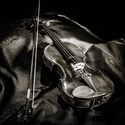 Photograph - 202 .1841 Violin By Jean Baptiste Vuillaume Bw by M K Miller