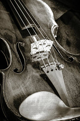 Photograph - 203 .1841 Violin By Jean Baptiste Vuillaume Bw by M K Miller