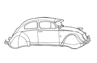 Vw Beetle Drawing - 2069 Volkswagen Beetle by Nate Petterson