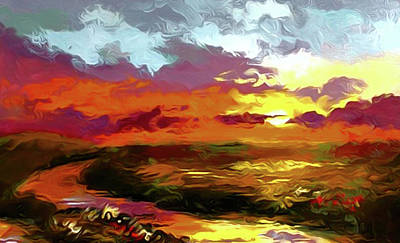 Park Painting - Nature Landscape Lighting by Edna Wallen
