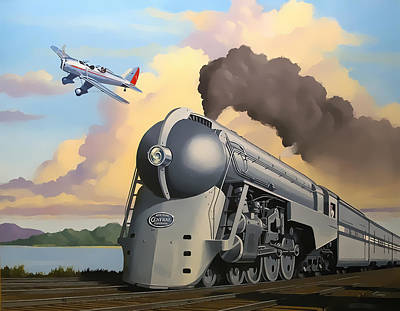 Digital Art - 20th Century Limited And Plane by Chuck Staley