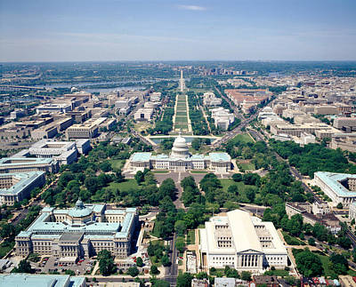 Washington Monument Photograph - Aerial View Of Buildings In A City by Panoramic Images