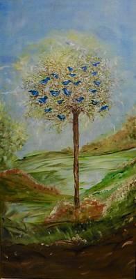 21 Blue Birds Original by Sara Credito