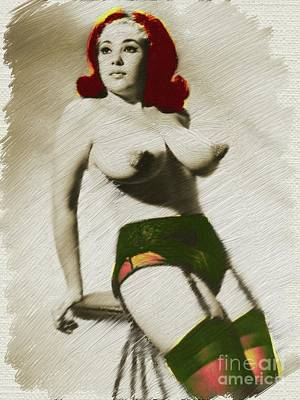 Nude Digital Art - Digital Vintage Pinup Painting by Frank Falcon