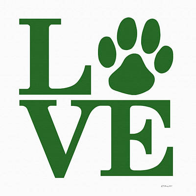 Companion Digital Art - Dog Paw Love Sign by Gregory Murray
