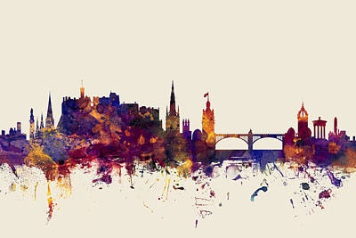 Watercolour Wall Art - Digital Art - Edinburgh Scotland Skyline by Michael Tompsett