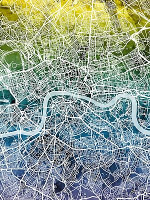 Digital Art - London England Street Map by Michael Tompsett