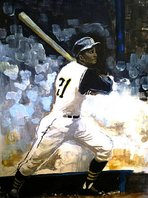 Roberto Clemente. Pittsburgh Pirates Painting - 21 by Michael O'Donnell