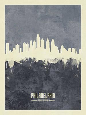 Philadelphia Skyline Digital Art - Philadelphia Pennsylvania Skyline by Michael Tompsett