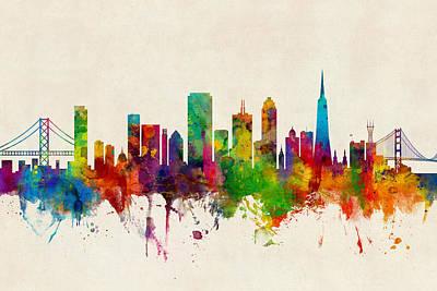 San Francisco Wall Art - Digital Art - San Francisco City Skyline by Michael Tompsett