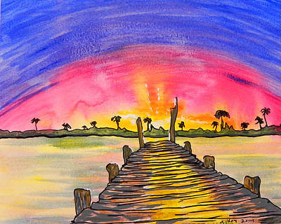 Gods Sunshine Art Painting - Sunrise / Sunset / Indian River by W Gilroy
