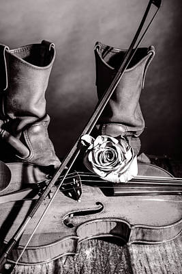 Photograph - 210 .1841 Violin By Jean Baptiste Vuillaume Bw by M K Miller