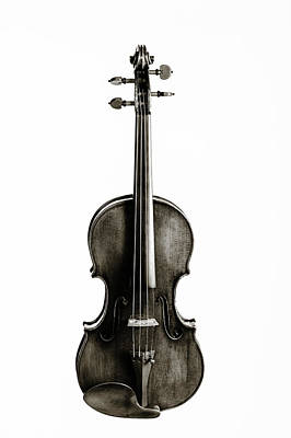 Photograph - 212 .1841 Violin By Jean Baptiste Vuillaume Bw by M K Miller
